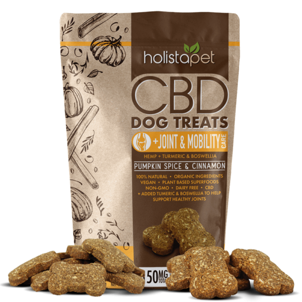 holistapet cbd dog treats joint and mobility with product in front of packaging pumpkin spice and cinnamon
