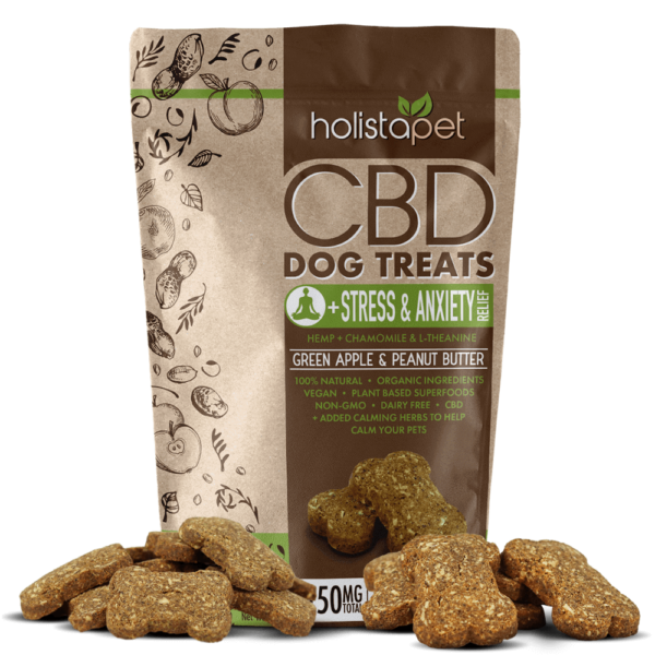 holistapet cbd stress and anxiety dog 150mg treats with green apple and peanut butter treats laying out around bag